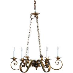 1970s Six-Arm Golden Wrought Iron Chandelier with Canopy and Chain