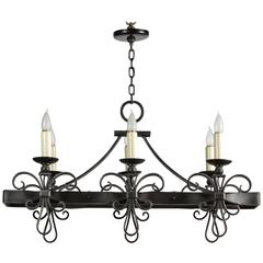 1980s Rectangular Wrought Iron Six-Light Chandelier with French Styling