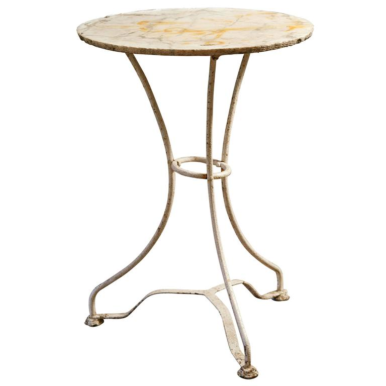 White Painted Iron French Bistro Table with Raw Edge Marble Top, circa 1900