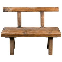 Rustic and Primitive Oak Bench with Back from Belgium circa 1920