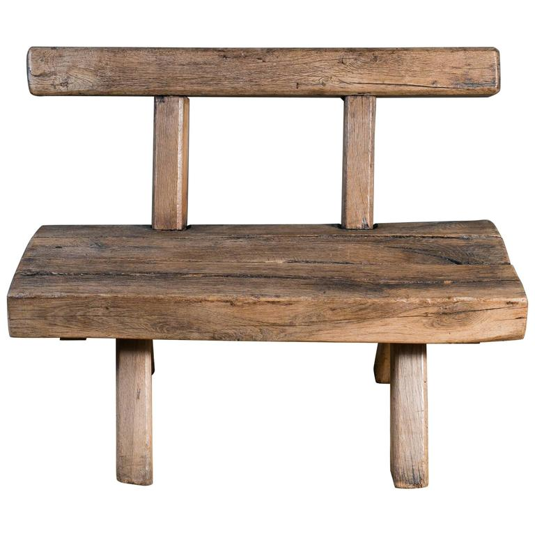 Chunky rustic wooden bench with back circa 1920 at 1stdibs Oak bench