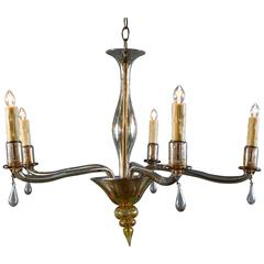 Mid-Century Vintage Amber Colored Murano Glass Chandelier in the Style of Venini