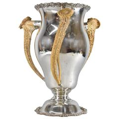 "Large 13"" Sterling Silver Trophy Cup with Three Horn Handles by Dieges & Clust"