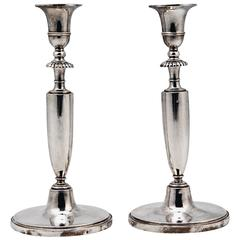Pair of Candlesticks Silver 13 Lot Empire Austria Early Biedermeier Vienna 1813