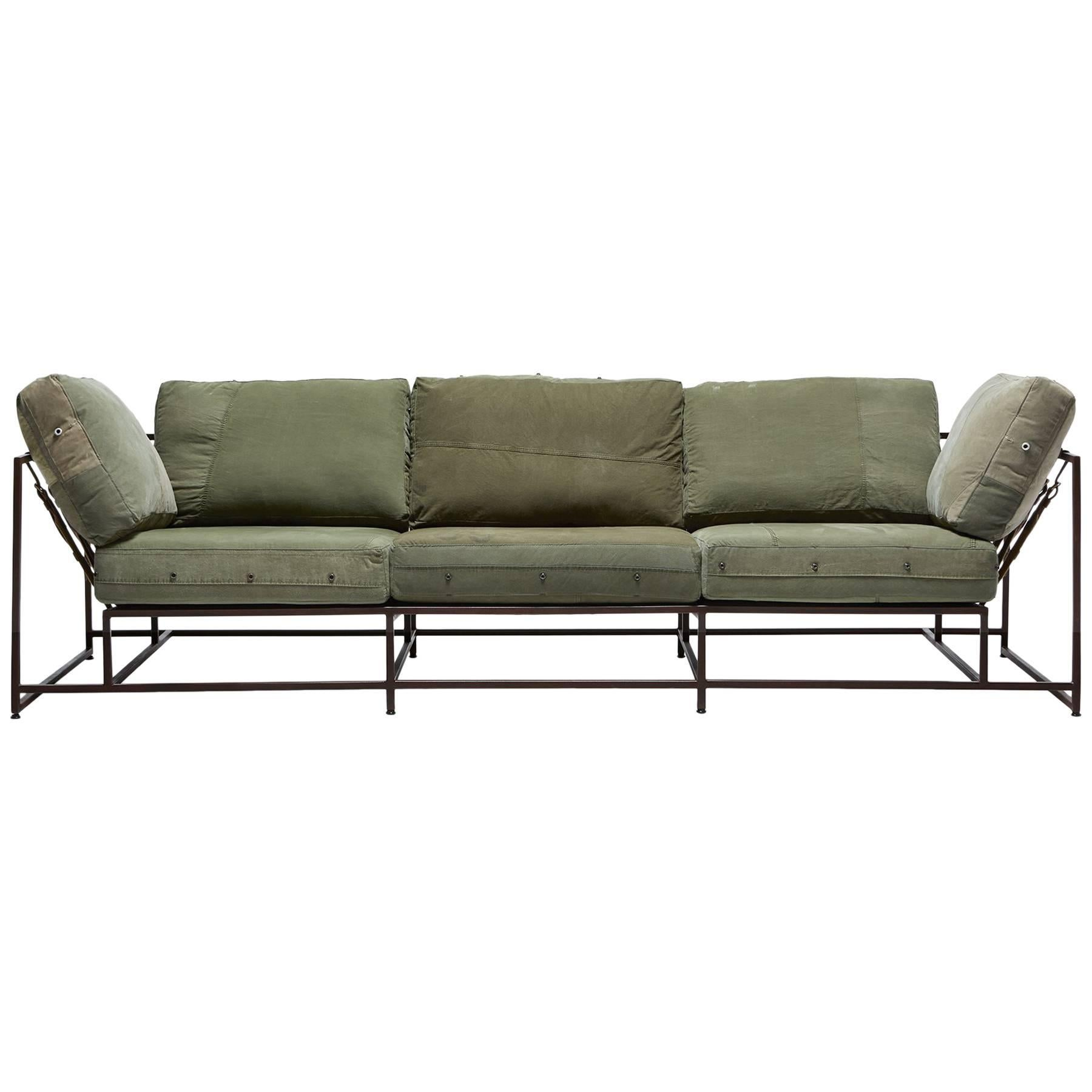 Vintage Military Canvas and Marbled Rust Sofa