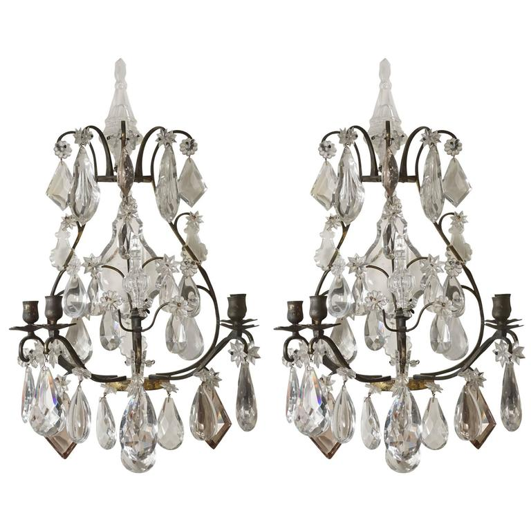Pair of Late 19th-Early 20th Century Baccarat Patinated Bronze & Crystal Sconces For Sale