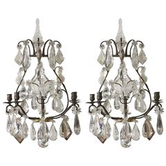 Pair of Late 19th-Early 20th Century Baccarat Patinated Bronze & Crystal Sconces