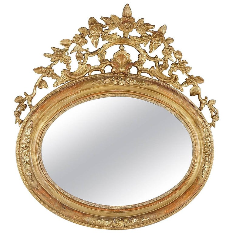 Victorian Oval Gilded Rococo Revival Mirror For Sale