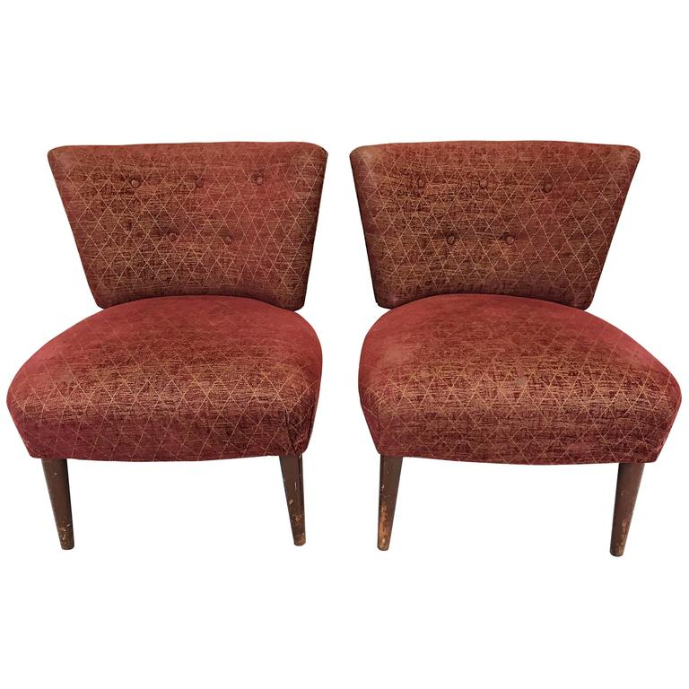 Attractive Mid Century Slipper Chairs Attributed To Gilbert Rohde For Kroehler For Sale