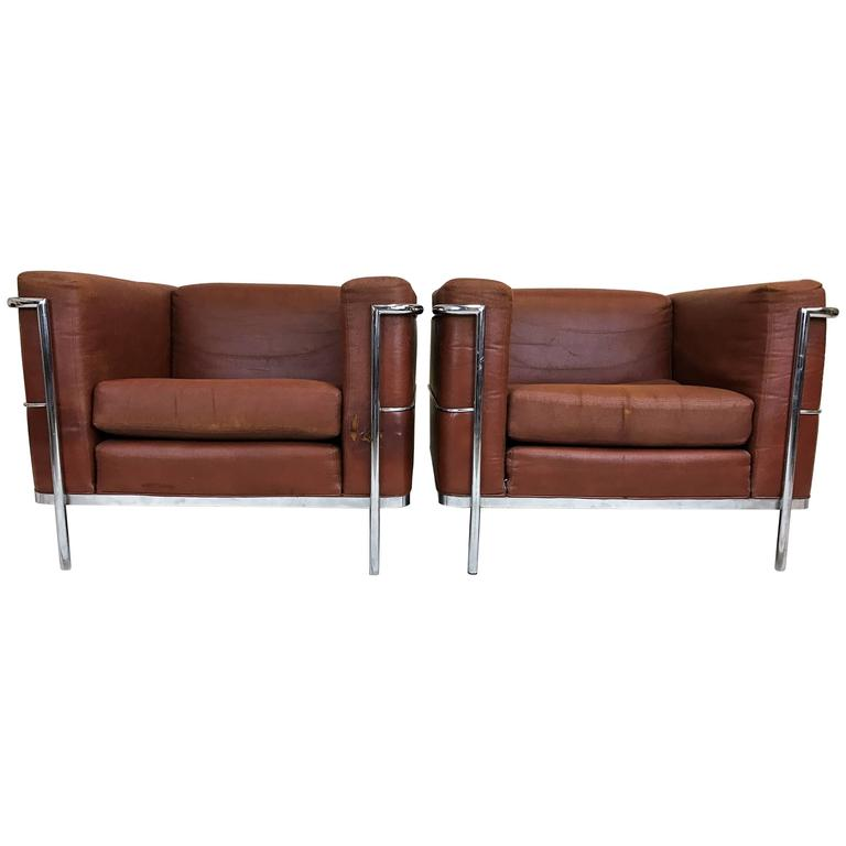 Pair Of 20th Century Lounge Chairs By Jack Cartwright In Le Corbusier Style  1