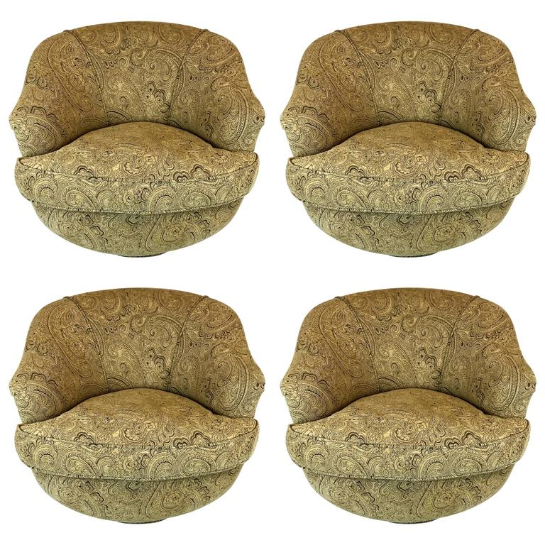 Set of Four Mid-Century Barrel Swivel Chairs in the Style of Milo Baughman