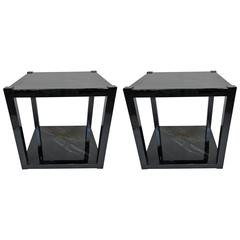 Pair of 21st Century Black Lacquered Side Tables by William Loyd