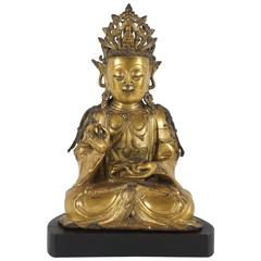 Chinese Period Ming Dynasty Gilded Bronze Figure of Guanyin