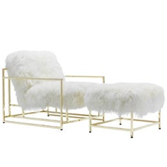 White Mongolian Sheepskin and Polished Brass Armchair and Ottoman