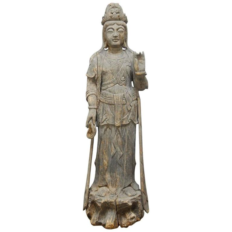 Buddhist carved guan yin bodhisattva statue for sale at