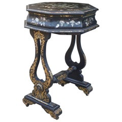 Victorian Papier Mâché and Mother-of-Pearl Inlayed Work Table