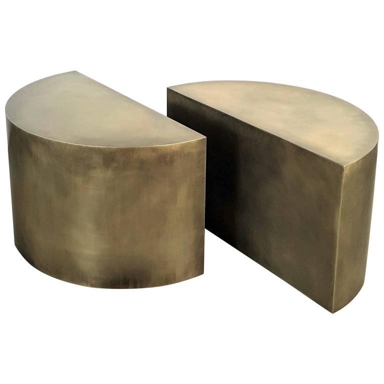 Solid Brass Geometric Demilune Side Tables with Heavy Patina, a pair For Sale