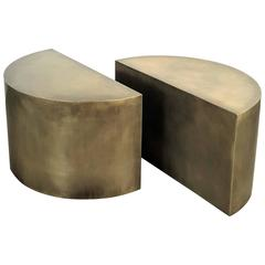 Solid Brass Geometric Demilune Side Tables with Heavy Patina, a pair