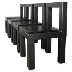 Set of Four Gunmetal Grey Steel Modern Industrial Dining Chairs