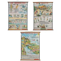 Set of Three Hand-Painted Wall School Charts from the Netherlands
