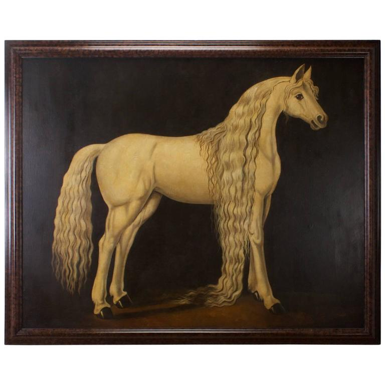 William Skilling Oil Painting on Canvas of an Andalusian Horse