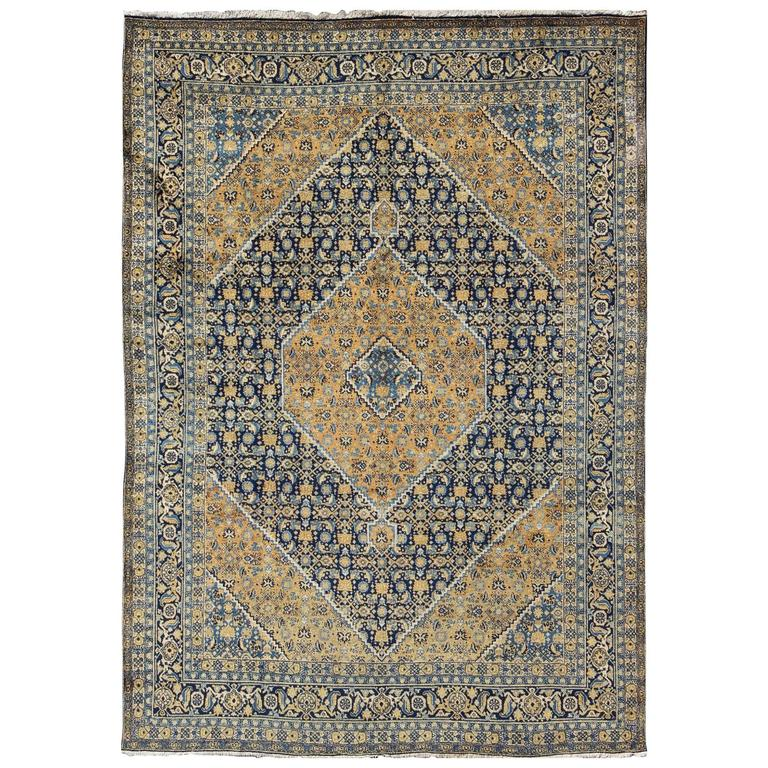 Antique Persian Tabriz Rug With Light Gold And Blue