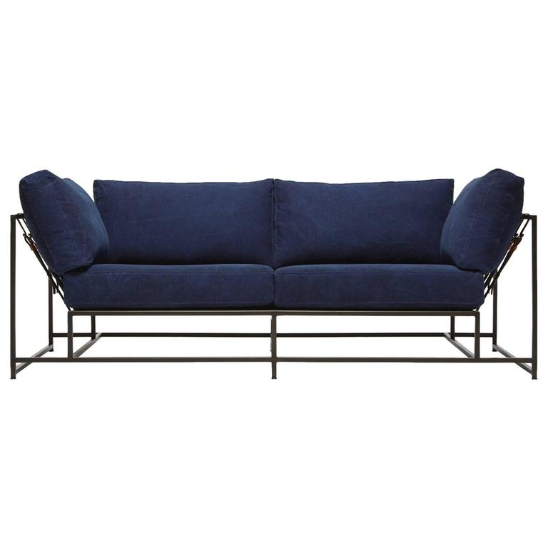 Hand-Dyed Indigo Canvas and Blackened Steel Two-Seat Sofa