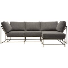 Grey Wool & Antique Nickel Small Chaise Sectional