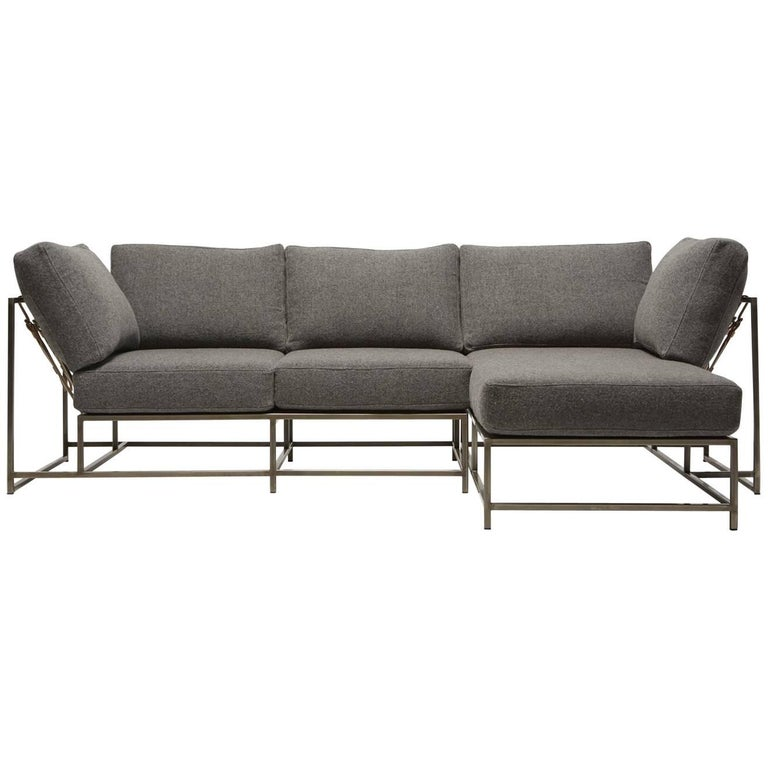 Outstanding Grey Wool Antique Nickel Small Chaise Sectional Beatyapartments Chair Design Images Beatyapartmentscom