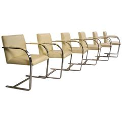 Set of Six Brno Chairs in Ivory Leather