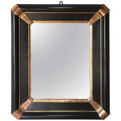 Ebony and Gold Gilt Mirror, Italy, 19th Century