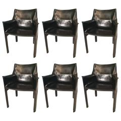 Set of Six 1980s Cab Chairs