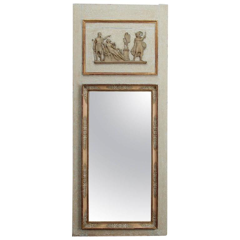 Trumeau Mirror with Antique White and Gilded Finish, circa 1920s