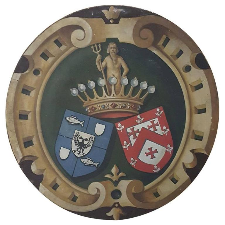 19th Century Hand-Painted Family Crest Plaque