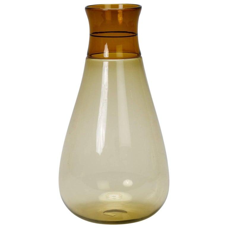 Tall Signed Venini Beaker Style Amber Vase For Sale