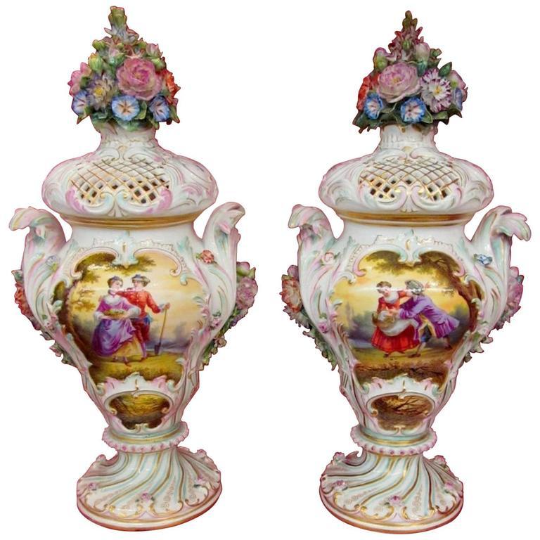 Pair Of Antique Meissen Hand Painted Porcelain Potpourri Urns Vases
