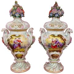 Pair of Antique Meissen Hand-Painted Porcelain Potpourri Urns/ Vases