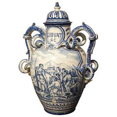 19th Century Blue White Vase from Italy