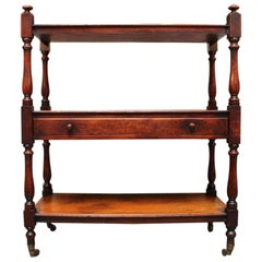 Small Scale English Mahogany Three-Tiered Trolley