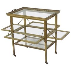 Italian Drinks Cart or Fold-Down Tea Table with Removable Tray Top