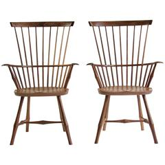 Rare Pair of New Natural Walnut Wayland Highback Windsor Armchairs