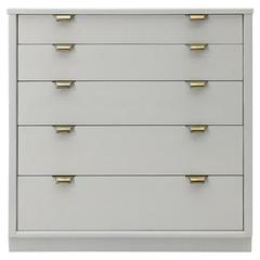 Off-White Linen Lacquered Chest by Edward Wormley