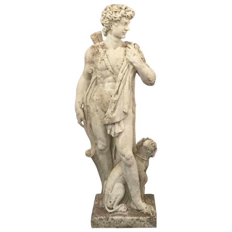 Large English Garden Stone Statue of Apollo with Dog 1