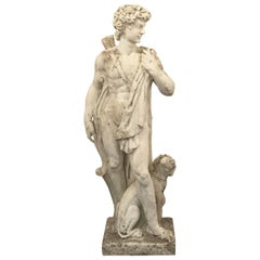 Large English Garden Stone Statue of Apollo with Dog
