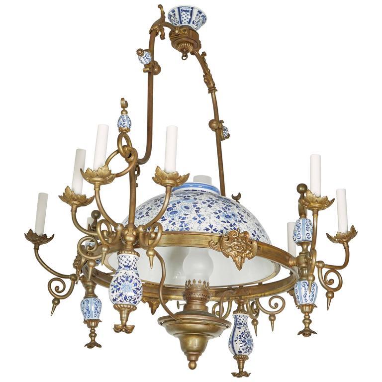 Eleven-Light Pewter Delftware Chandelier