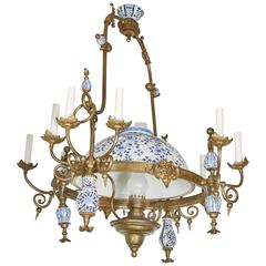 Eleven-Light Pewter Delftware Chandelier