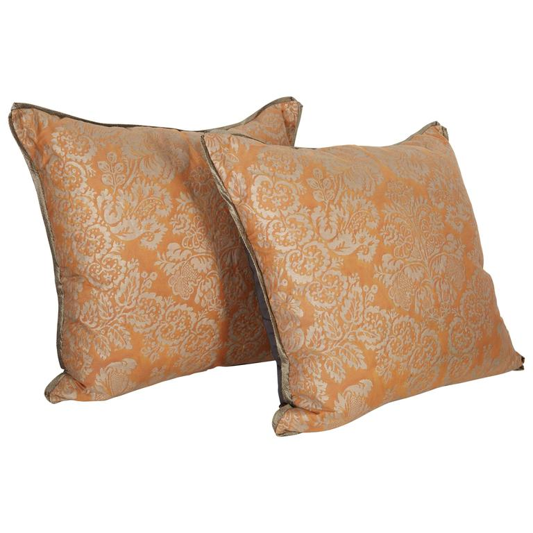 A Pair of Fortuny Fabric Cushions in the Solimena Pattern 1