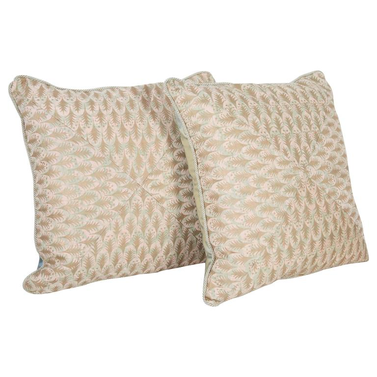 A Pair of Mitered Fortuny Fabric Cushions in the Puimette Pattern