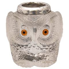 Rare and Unusual Edwardian Sterling Silver Mounted Owl-Form Match Striker