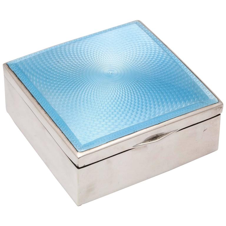 Art Deco Sterling Silver and Blue Guilloche Enamel Table Box
